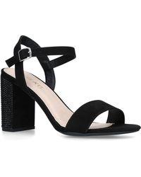 9d45265f6d6d River Island Black Metallic Strappy Mid Heel Sandals in Black - Lyst