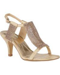 Lotus - Gold Diamante 'aspey' High Heel T-bar Sandals - Lyst