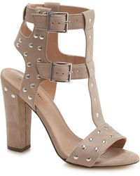 53087da194d Call It Spring - Taupe Suedette  aferiwien  High Block Heel T-bar Sandals