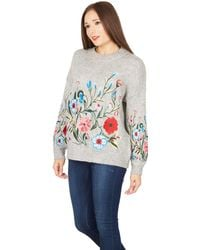 Tenki - Grey Knitted Embroidered Jumper - Lyst