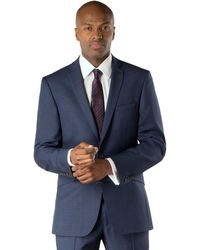 Racing Green - Blue Semi Plain Tailored Fit 2 Button Suit Jacket - Lyst