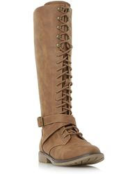 Dune - Tan 'tibbie' Lace Up Knee High Boots - Lyst