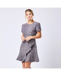 a90f8efb063 TOPSHOP Boucle Sweater Dress in Gray - Lyst