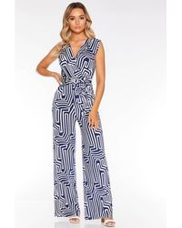 Quiz - Navy And Cream Abstract Sleeveless Jumpsuit - Lyst