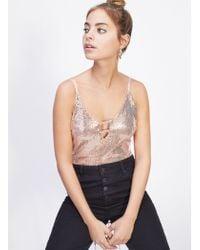 Miss Selfridge - Petite Nude Shimmer Body - Lyst