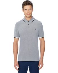 Fred Perry - Grey Tipped Embroidered Logo Polo Shirt - Lyst