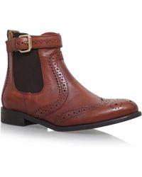 Carvela Kurt Geiger - Tan 'slow' Flat Chelsea Boots - Lyst