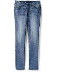 Lands' End - Blue Womens Petite Not-too-low Rise Slim Leg Jeans, Indigo - Lyst
