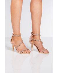 0defcb8c714e New Look Mink Suedette Twist Strap Heeled Sandals - Lyst