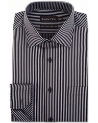 Double Two - Grey Satin Stripe Formal Shirt - Lyst