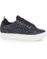 Call It Spring - Black Glitter 'pompeano' Flatform Lace-up Trainers - Lyst