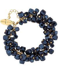 J By Jasper Conran - Gold Blue Crystal Cube Bracelet - Lyst