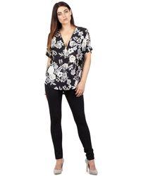 Izabel London - Black Floral Print Zip Top - Lyst