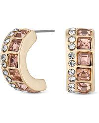 Matthew Williamson - Pink Crystal Half Hoop Earrings - Lyst