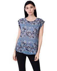 Izabel London - Navy Printed Crepe T-shirt - Lyst