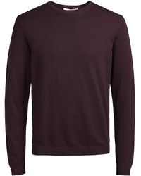 Jack & Jones - Burgundy 'morten' Knit Jumper - Lyst