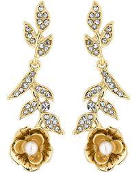 Jenny Packham - Designer Gold Floral Drop Earrings - Lyst