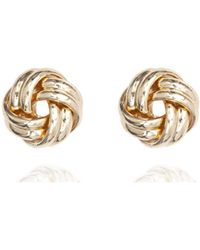 Anne Klein - Gold Tone Knot Stud Earrings - Lyst
