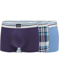 Jockey - 3 Pack Assorted Plain And Checked Trunks - Lyst