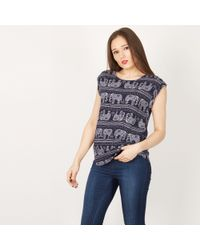 Izabel London - Navy Elephant Print T Shirt Top - Lyst