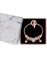 Lipsy - Crystal Pave Charm Gift Bracelet - Lyst