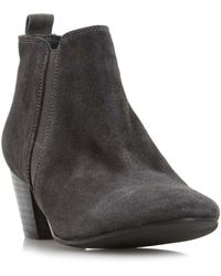 Dune - Grey 'perdy' Block Heel Ankle Boot - Lyst