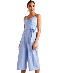 26dc8ebe51 New Look Pale Blue Floral Cold Shoulder Playsuit in Blue - Lyst