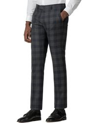 Ben Sherman - Grey And Navy Check Slim Fit Trouser - Lyst