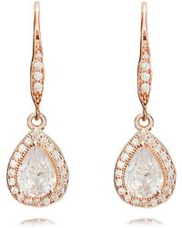 Anne Klein - Rose Gold Pear Eurowire Earrings - Lyst