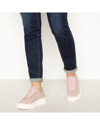 Faith - Pink Croc Effect 'kart' Platform Trainers - Lyst