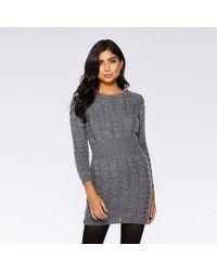 Quiz - Grey Knit Cable Design Jumper Dress - Lyst
