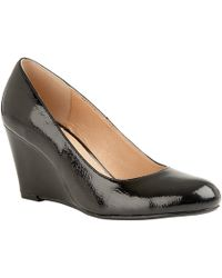 Lotus - Black Patent 'cache' High Wedge Heel Court Shoes - Lyst