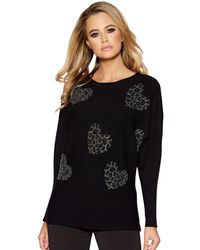 Quiz - Black And Silver Diamante Heart Light Knit Batwing Jumper - Lyst