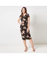 f72ca1188e673 Dorothy Perkins Black Floral Print Bloom Shirred Midi Skater Dress ...