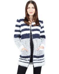 Izabel London - Navy Pocket Front Fur Knitwear Cardigan - Lyst