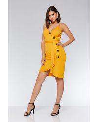 Quiz - Olivia's Mustard Button Front Wrap Dress - Lyst