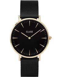 Cluse - Ladies' Gold And Black 'la Boheme' Mesh Strap Watch - Lyst