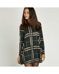 Apricot - Green Check Print Long Sleeve Swing Dress - Lyst