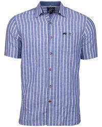 Raging Bull - Blue Long Sleeve Bengal Stripe Linen Shirt - Lyst
