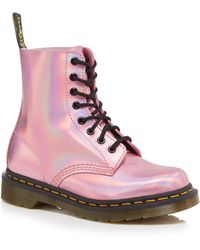 Dr. Martens - Pink Leather 'pascal Iced Metallic' Lace Up Boots - Lyst