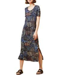 Dash - Geo Palm Jersey Midi Dress - Lyst