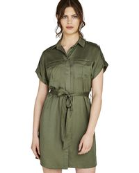 Apricot - Khaki Utility Button Down Shirt Dress - Lyst