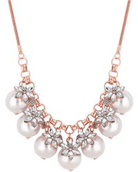 Red Herring - Rose Gold Crystal Flower And Pearl Statement Necklace - Lyst