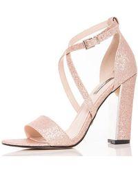 bc8bdc9d0f1d New Look Wide Fit Silver Glitter Cross Strap Sling Back Heels in ...
