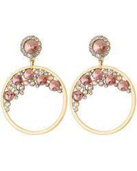 Lipsy - Blush Pink Crystal Hoop Drop Earrings - Lyst