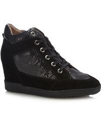 Geox - Black Suede 'carum' Wedge Heel Boots - Lyst