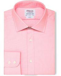 Tm Lewin - Slim Fit Pink Oxford Button Cuff Regular Sleeve Length Shirt - Lyst
