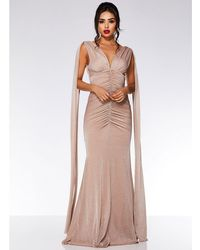 Quiz - Nude Mesh V Neck Ruched Fishtail Maxi Dress - Lyst