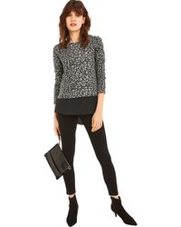 Oasis - Multi Grey Animal Woven Mix Cosy Top - Lyst