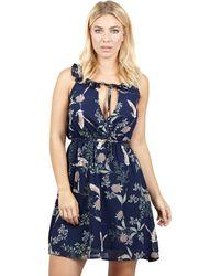 Izabel London - Navy Tie Waist Printed Fit & Flare Dress - Lyst